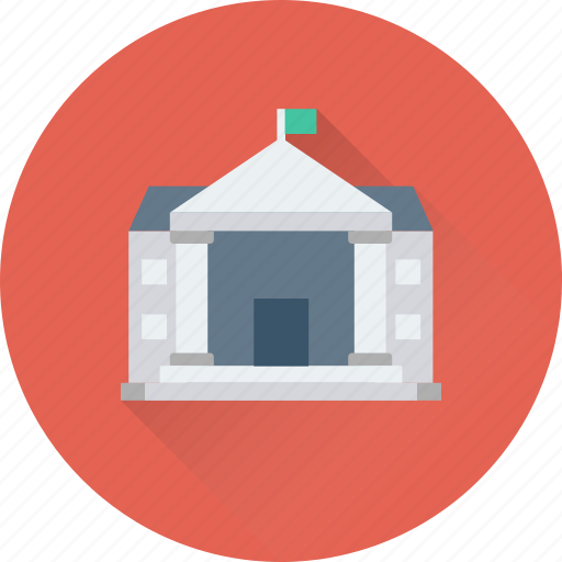 bank, building, courthouse, institute, school building icon