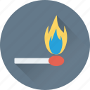 burn, burn stick, fire, flame stick, matchstick icon