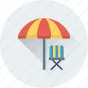 beach, beach umbrella, chair, travel, vacation icon