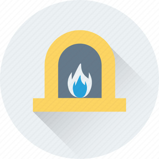 chimney, fireplace, fireside, hearth, interior fireplace icon