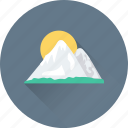 landscape, morning, mountain, sun, sunshine icon