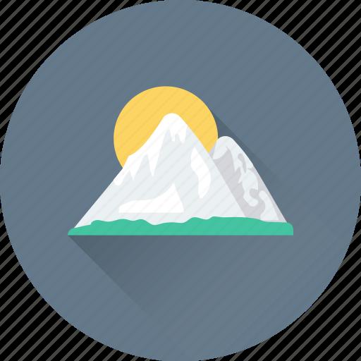 landscape, morning, mountain, sun, sunshine icon
