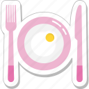 breakfast, dining, fork, meal, plate icon