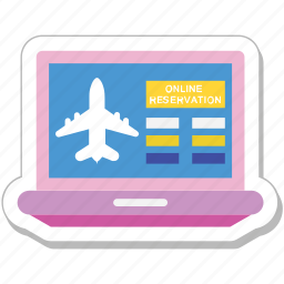 airline, booking, e ticket, laptop, reservation icon