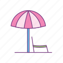 beach, summer, chair, holiday, parasol, sunny, umbrella