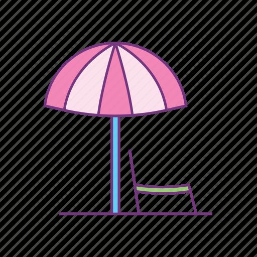 beach, chair, holiday, parasol, summer, sunny, umbrella icon