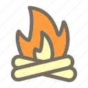 bonefire, camp, fire, summer, vacation icon