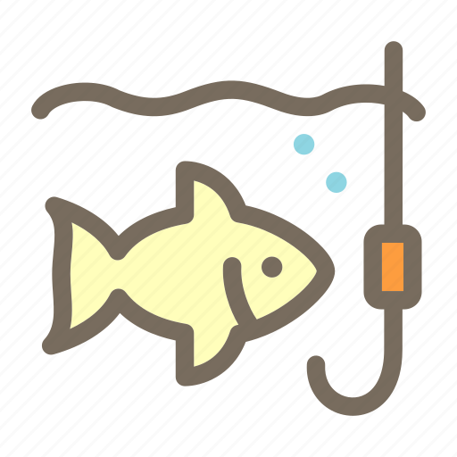 fishing, summer, vacation icon