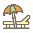 beach, summer, sunbed, umbrella, vacation icon