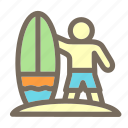 man, summer, surfer, surfing, vacation icon