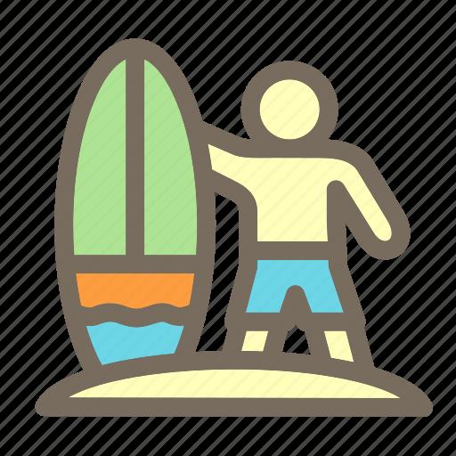 man, summer, surfer, surfing, vacation icon