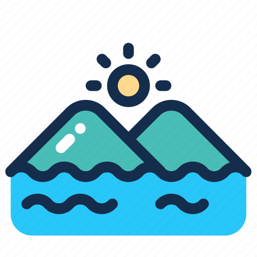 Landscape, mountain, outdoor, sea, summer, sun icon - Download on Iconfinder