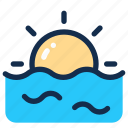 sea, sky, summer, sun, sunrise, sunset icon