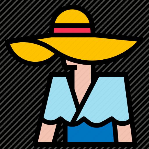 beach, fashion, hat, summer, sun icon
