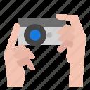 camera, hand