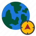 compass, direction, east, globe, north