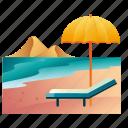 beach, beach chair, holiday, relax, sea, summer, vacation icon