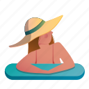 woman, summer, relaxing, relax, vacation, relaxation, pool