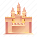 beach, castle, holiday, sand, sea, summer, vacation icon