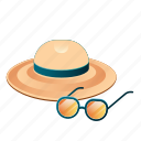 beach, hat, sea, summer, sun protection, sunglasses, vacation icon