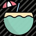 coconut, coconut juice, passport, travel, id, document, vacation