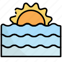 sunset, sunrise, nature, view, landscape, sea, beach