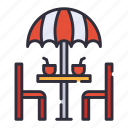 chair, terrace, umbrella