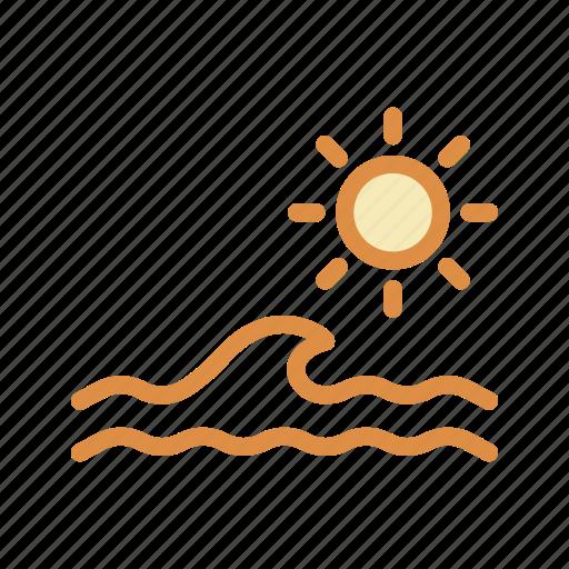 sea, sun, water, wave icon