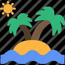 beach, island, palms