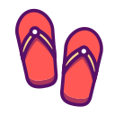 beach, casual, flipflop, outline, sandals, travel, traveling icon