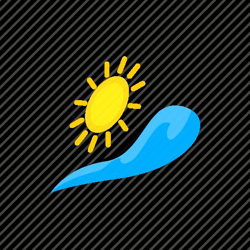 isometric, nature, sea, summer, sun, water, wave icon