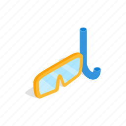 isometric, mask, snorkel, sport, summer, underwater, water icon