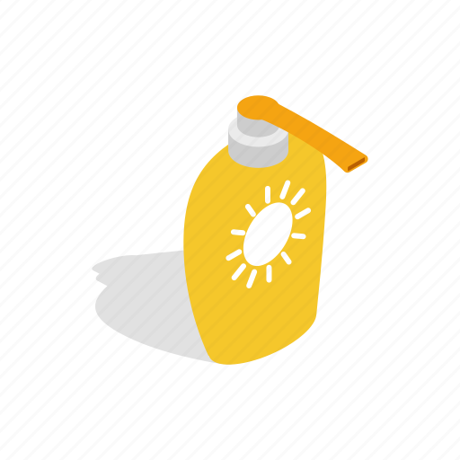 bottle, care, cosmetic, isometric, protection, summer, sunblock icon