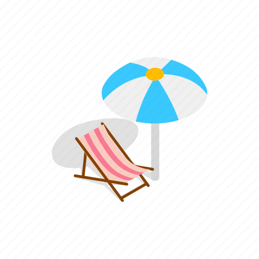 beach, isometric, lounge, relaxation, summer, travel, umbrella icon