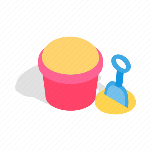 bucket, isometric, kid, play, sand, shovel, toy icon