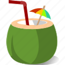chill, coconut, juice, relax, summer, tropical icon