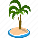 coconut, island, sea, summer, tree icon