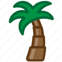 beach, palm, summer icon