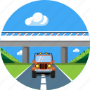auto, bridge, car, landscape, road, travel, vacation icon