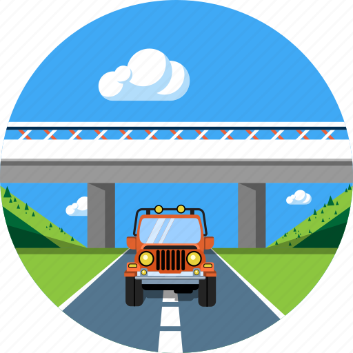auto, bridge, car, landscape, road, travel, vacation icon