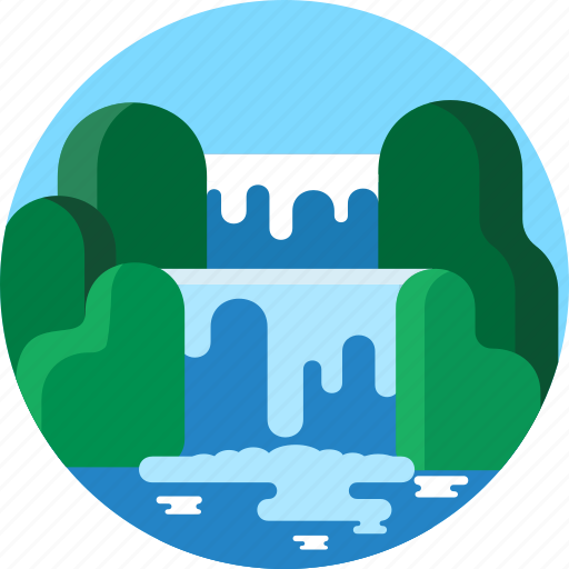 cascade, landscape, river, stream, travel, vacantion, waaterfall icon