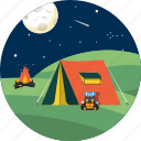 adventure, camp, hiking, tent, tourism, travel, vacations icon