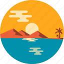 beach, island, ocean, summer, tourism, twilight, vacation icon