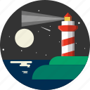 distance, lighthouse, marine, nautical, navigate, navigation, sea icon