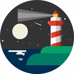 distance, lighthouse, marine, nautical, navigate, navigation, sea icon