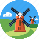 ecology, environment, hills, landscape, mills, nature, tourism icon