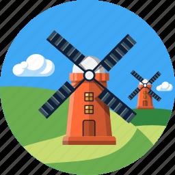 ecology, environment, hills, landscape, mills, nature, tourism icon