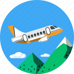 holiday, mountain, plane, tourism, travel, vacantion, wings icon