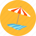 beach, blanket, holiday, summer, towel, umbrella, vacation icon
