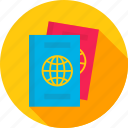 certificate, document, id, identity, pass, passport, travel icon